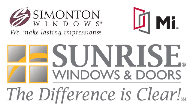 simonton, mi and sunrise windows logos